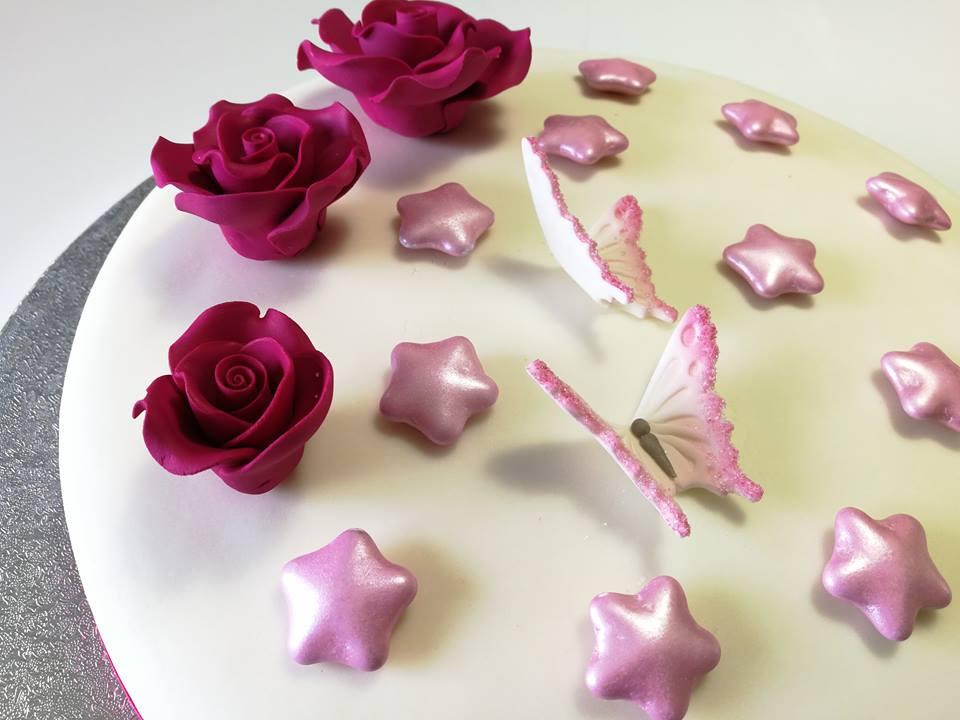 Torta Di Compleanno Con Fiori E Farfalle
